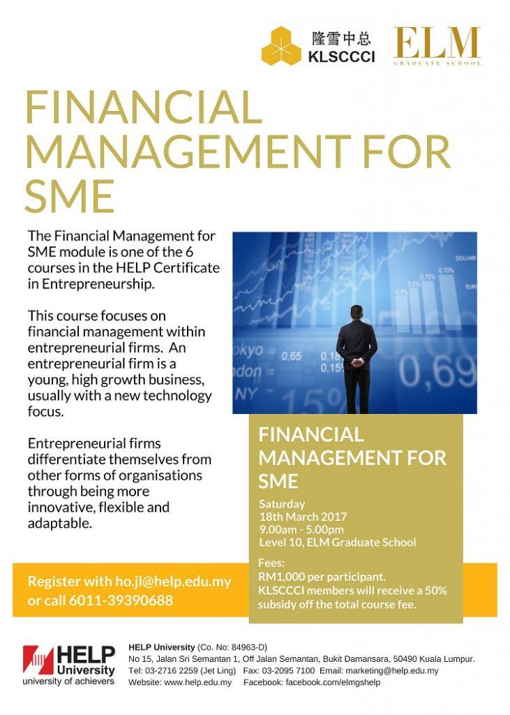 Certificate In Entrepreneurship Financial Management For Sme